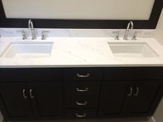 Merveilleux Quartz Countertops, Kohler Archer Undermount Sink And Archer Faucet. Custom  Vanity Espresso Stain