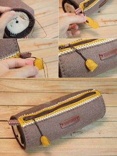 How to make zippers pencil case DIY tutorial in pictures. Zipper Pencil Case, Diy Pencil Case, Pencil Pouch, Diy Back To School, Diy Mode, Diy Crafts Hacks, Pencil Bags, Paper Crafts For Kids, Bag Making