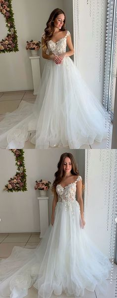 93895b670db18c White tulle lace off shoulder long prom dress, white tulle wedding dress