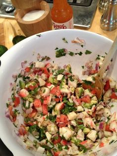 Ceviche. I made it tonight and it is now my favorite recipe of ALL TIME.