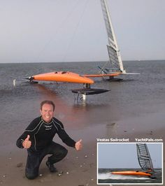 Austrailian Paul Larsen broken the speed sailing record in November 2012 with an average speed over 500 meters of 59.23 knots. Prior record was held by American kitesurfer Rob Douglas.