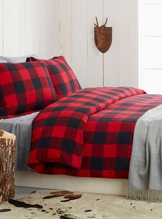 Red and Black Buffalo Plaid Bedding - light grey sheets and throw