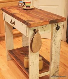 Repurposed Kitchen Island with a beautiful reclaimed wood top {polished up with coconut oil! I am doing the bottom shelves today. Repurposed Furniture, Pallet Furniture, Furniture Projects, Rustic Furniture, Wood Projects, Furniture Online, Furniture Stores, Pallet Beds, Repurposed Wood