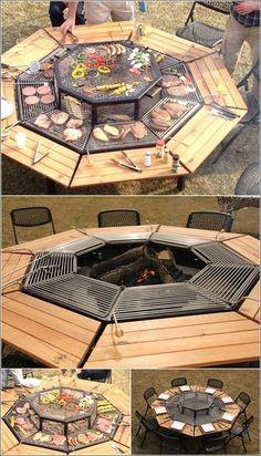 Grill that Can Serve as a Fire Pit and Table Too (aunque no sale como hacerlo, no la podía dejar pasar, está genial)