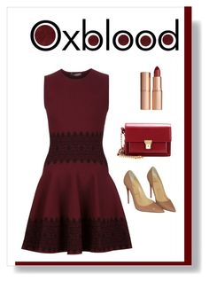 """""""oxblood dress"""" by polychampion-805 ❤ liked on Polyvore featuring moda, Burberry, Alexander McQueen, Christian Louboutin, Yves Saint Laurent, AlexanderMcQueen, Louboutin, oxblood i contestentry"""
