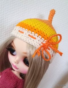 Blythe hat, yellow stribe helmet, hat Handmade yellow by Cards4youArt. Crochet…