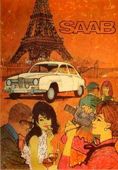 Saab Monte Carlo 850, 1966 - original vintage poster listed on AntikBar.co.uk
