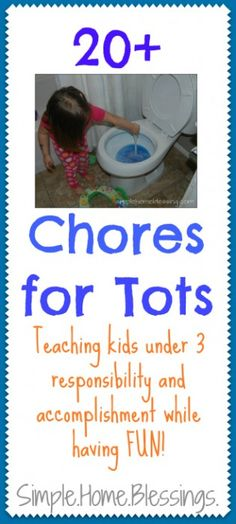 Chores for Tots - helping little ones to learn responsibility and a sense of accomplishment early on. Tips for teaching chores and a list of simple chores. Toddler Fun, Toddler Activities, Learning Activities, Toddler Stuff, Parenting Advice, Kids And Parenting, Chores For Kids, Toddler Chores, Toddler Discipline