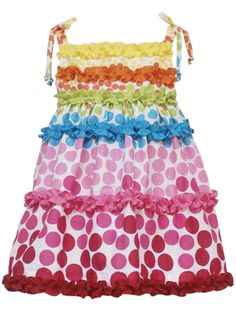 Rare Editions Girls 2-6X Dot Ruffled Dress  Price: $30.80  Color: Multi Color