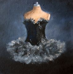 """The Moonlight and the Black Swan"", Black Swan Tutu gown ballet painting original ooak canvas still life FREE usa shipping. by WitsEnd, available on Etsy  SOLD"