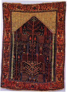 Bakhtiari Carpet with Prayer Rug Design Western Iran late 19th early 20th century.