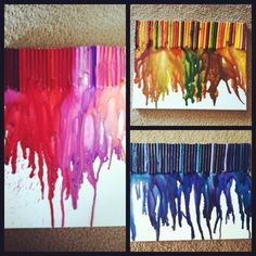 @Jenifer Rank & I each conquered our first set of crayon art! Great times. I think the blue one is my favorite... what about you? Each one is unique. Fun project! #crayonart #meltedcrayons #DIY