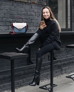 KACHOROVSKA / tricolor leather city bag #3 / black leather knee boots