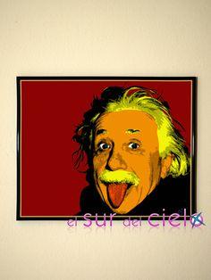 Albert Einstein convertido en arte pop. Podemos convertir tus fotografías favoritas en obras de arte pop http://www.elsurdelcielo.com
