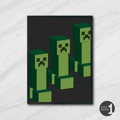 Minecraft Creeper Gaming Art Nerd Picture Print Mojang
