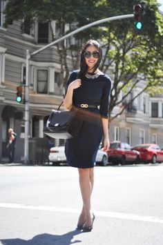 Anh from 9to5 shows us how to adorn a simple black sheath dress to make work a little more fun. Styled with a Ferragamo belt, Celine Trapeze bag, Prada baroque sunglasses, Chloe heels and a Kendra Scott necklace.
