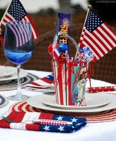 4th of July table decor summer decor outdoors flag america 4th of july