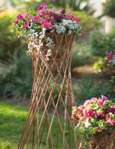 Cone-shaped planters like these are wildly popular in England. Fill the willow cone with trailing flowers for a striking display of color. Tall Outdoor Planters, Garden Planters, Willow Garden, Trailing Flowers, Garden Coffee Table, Naturally Beautiful, Garden Gifts, Natural Materials, Fence