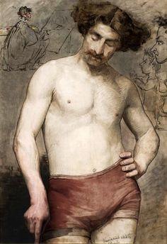 Anna Bilińska-Bohdanowicz  (Polish, 1857-1893)  Study of a semi-nude male, 1885
