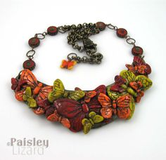 Red orange yellow butterfly necklace