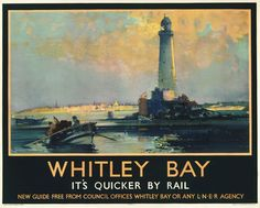 Art Print Whitley Bay Lighthouse, Northumberland, England, Travel Poster Print 8 x 10 Train Posters, Railway Posters, England Travel Poster, Warkworth Castle, British Travel, British Seaside, British Isles, National Railway Museum, Lighthouse Art