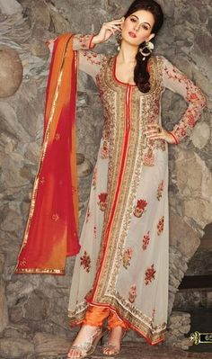 Off White Georgette Embroidered Long Anarakli Salwar Kameez 24895 by betty