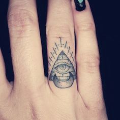 all seeing eye pyramid and crescent moon finger tattoo