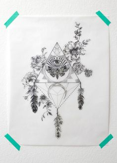 love pretty Illustration art Black and White beautiful hippie design inspiration boho flowers triangle feathers bohemian details decor all seeing eye Eye of Providence symbol gypsy bohemian decor boho style wall decor gypset bohemian home