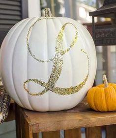 No knives, no mess! DIY Halloween Decor: Glittered monogram pumpkin