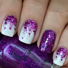 Purple Glitter Pretty Nail For Prom Nail Art Designs Short #prom nail art