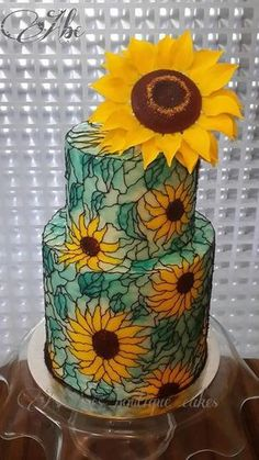 Beautiful Sunflowers & Stained Glass Cake Art - Cake by Ashwini Tupe Crazy Cakes, Fancy Cakes, Amazing Wedding Cakes, Amazing Cakes, Pretty Cakes, Beautiful Cakes, Fondant Cakes, Cupcake Cakes, Sunflower Cakes