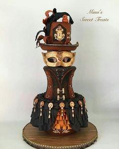 Elegant Steampunk Wedding cake by mimissweettreats Steampunk Wedding Cake, Gothic Wedding Cake, Gothic Cake, Beautiful Wedding Cakes, Beautiful Cakes, Amazing Cakes, Unique Cakes, Creative Cakes, Pretty Cakes