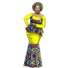 African Dashiki for Woman Top and Skirt set o-neck Bazin Riche full sleeve Plus Size evening Dress African American Fashion, African Print Fashion, Africa Fashion, African Fashion Dresses, African Attire, African Wear, African Dress, African Style, African Prints