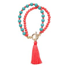 Beaded Tassel Bracelet - Coral