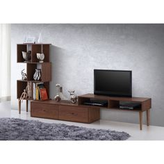 Baxton Studio Haversham Mid-century Retro Modern TV Stand Entertainment Center and Display Unit | Overstock.com Shopping - The Best Deals on Entertainment Centers