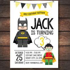 Cute lego batman invitation