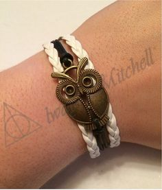 Beautiful Charm Bracelet on Etsy! Quick get it before they are all gone! Love this bracelet, White, Black, Owls, Gold, Charm, Bracelet! Etsy.com