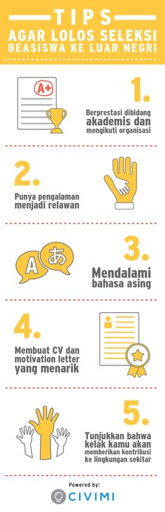 Psychology infographic and charts 5 Tips Agar Lolos Seleksi Beasiswa ke Luar Negri. (Infographic) Infographic Description 5 Tips Agar Lolos Seleksi Beasiswa ke Luar Negri.