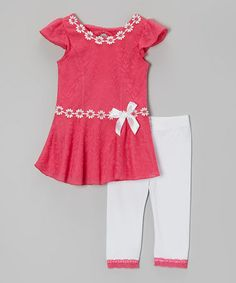 Loving this Pink & White Ruffle Tunic & Leggings - Infant, Toddler & Girls on #zulily! #zulilyfinds