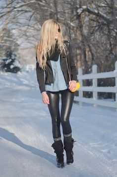 black zip up jacket, black infinity scarf, button shirt/tshirt, black pleather leggings, wool socks, and black boots with ankle buckle.