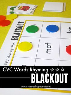 FREE CVC Words: Rhyming Blackout with 6 different boards to get kids reading and rhyming with CVC words | This Reading Mama