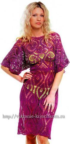 Летнее вязаное крючком платье со схемами