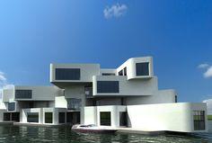 そしてオランダに2014年完成予定なのが浮遊式マンション「シタデル(Citadel)」。 浮遊式の一軒家はオランダでは珍しくないそうですが、浮遊式共同住宅が建設されるのは ヨーロッパでも初めてとのこと。