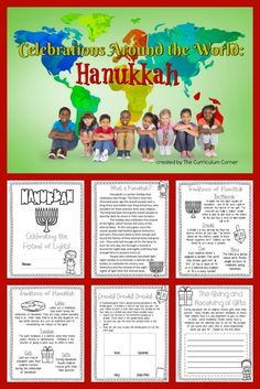 FREE Holidays around the world! This Hanukkah booklet is designed to help you in a December celebration of holidays around the world. Another free resource from The Curriculum Corner. Feliz Hanukkah, Hannukah, December Holidays Around The World, Hanukkah Traditions, Kwanzaa, 3rd Grade Classroom, Future Classroom, Celebration Around The World, Fall Cleaning