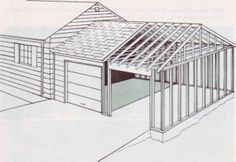 Framing details for attaching a garage to a garage.