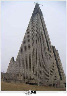 Neo-Brutalist Ryugyong Hotel in Pyongyang, North Korea