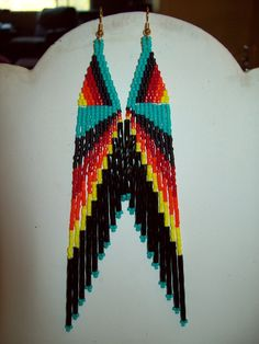 Native American Beaded Truquoise Black Red by BeadedCreationsetc, $25.00