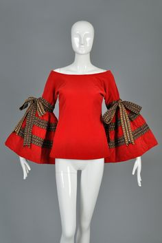 Adolfo Velvet Top with Quilted Bell Sleeves + Ribbons image 2 Best African Dresses, Latest African Fashion Dresses, African Print Dresses, African Print Fashion, African Attire, African Fashion Traditional, Kids Frocks Design, African Blouses, Ankara Blouse