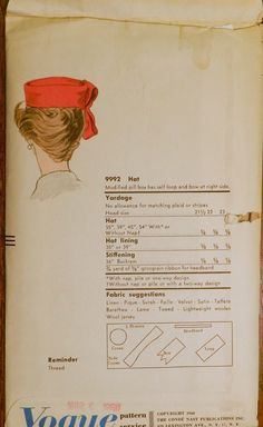 "Vtg 1960 Sally Victor Vogue 9992 Sewing Millinery Pattern Pillbox Hat 22"" (back of envelope)"