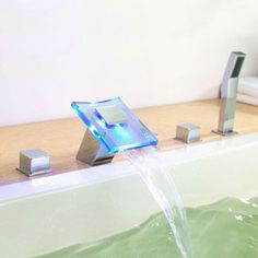 Contemporary Color Changing LED Hydropower Waterfall Widespread Tub Tap T0827FW  http://www.uktaps.co.uk/bathtub-taps-c-21.html